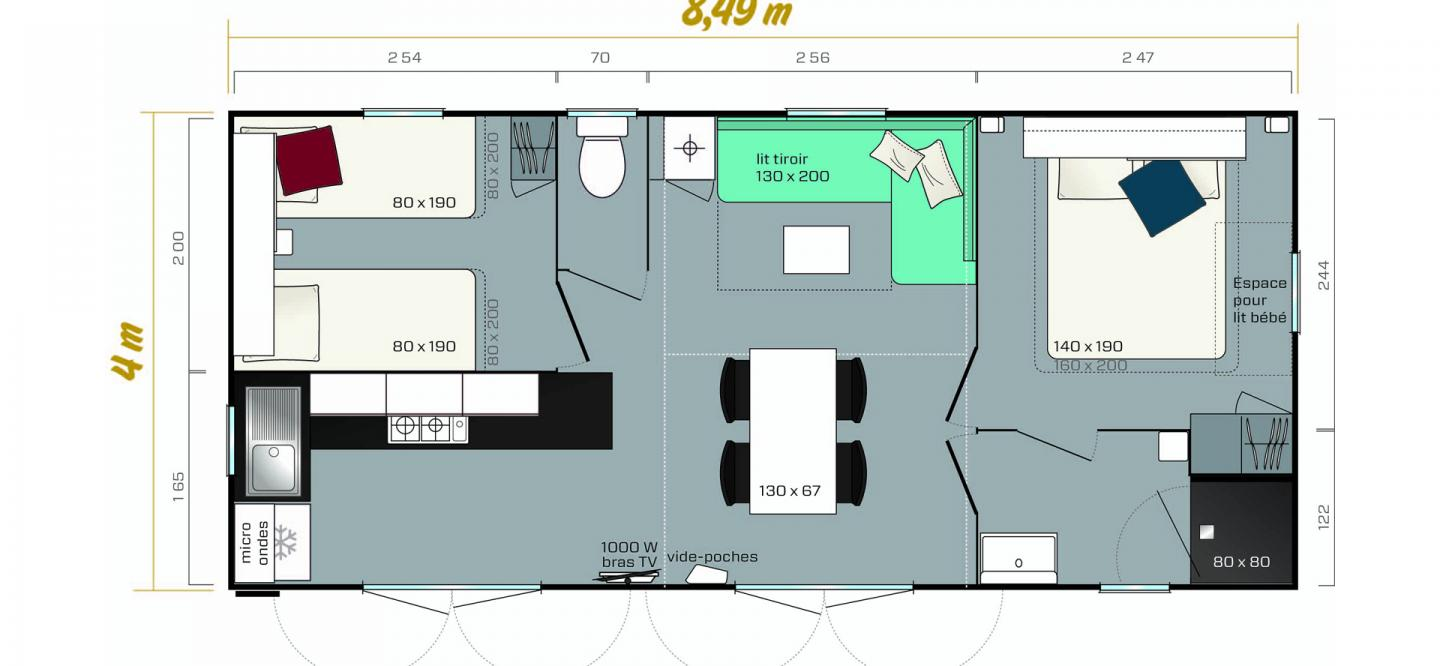 Plan mobil home Riviera suite